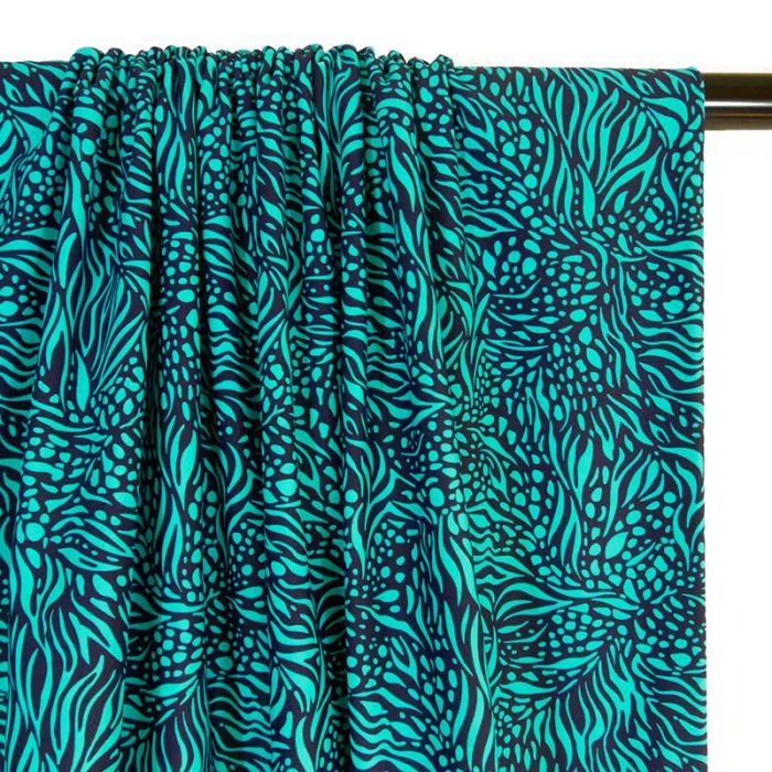 Coupon x 55 cm - Maillot de bain flammes turquoise