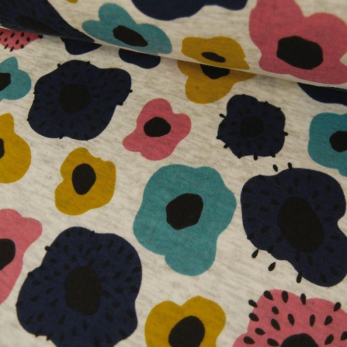 Tissu Molleton Sweat Fleurs Bleues - Gris Chiné x 10 cm