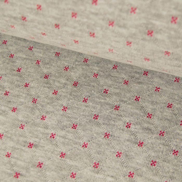 Jersey matelassé réversible gris clair/framboise x 10 cm