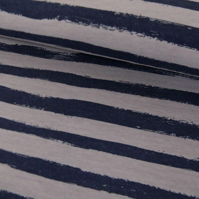 Tissu Jersey Rayures Bleues - Gris x 10 cm