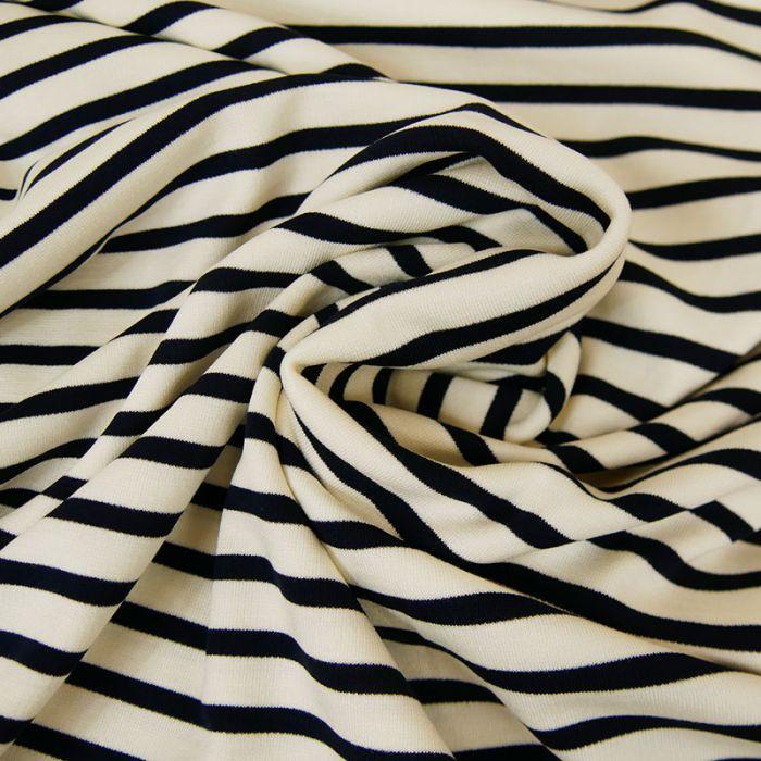 Tissu jersey rayures noires - blanc x 10 cm
