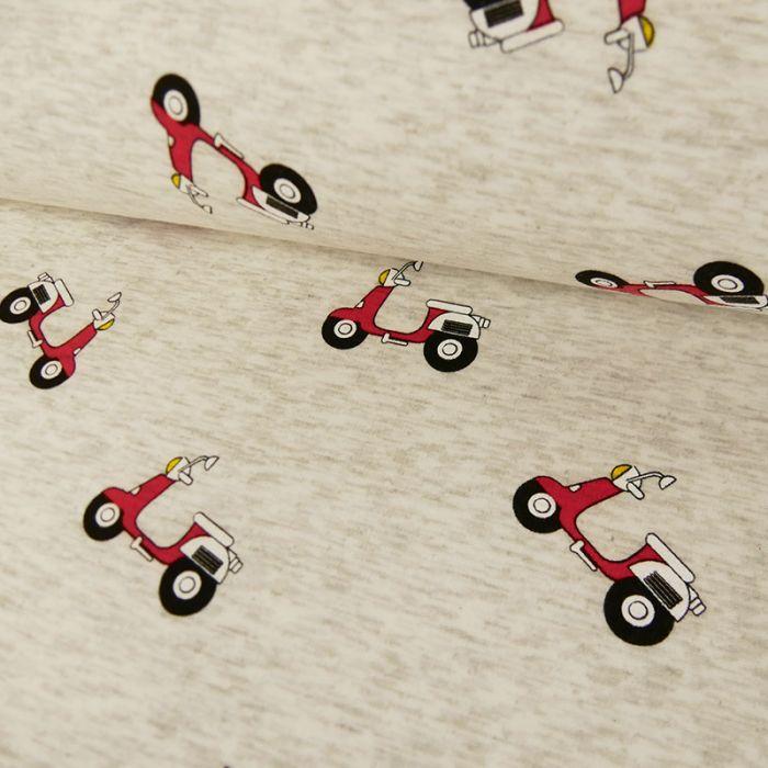 Tissu molleton scooters - gris chiné x 10 cm