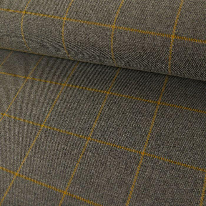 Tissu polyviscose carreaux - gris clair x 10 cm