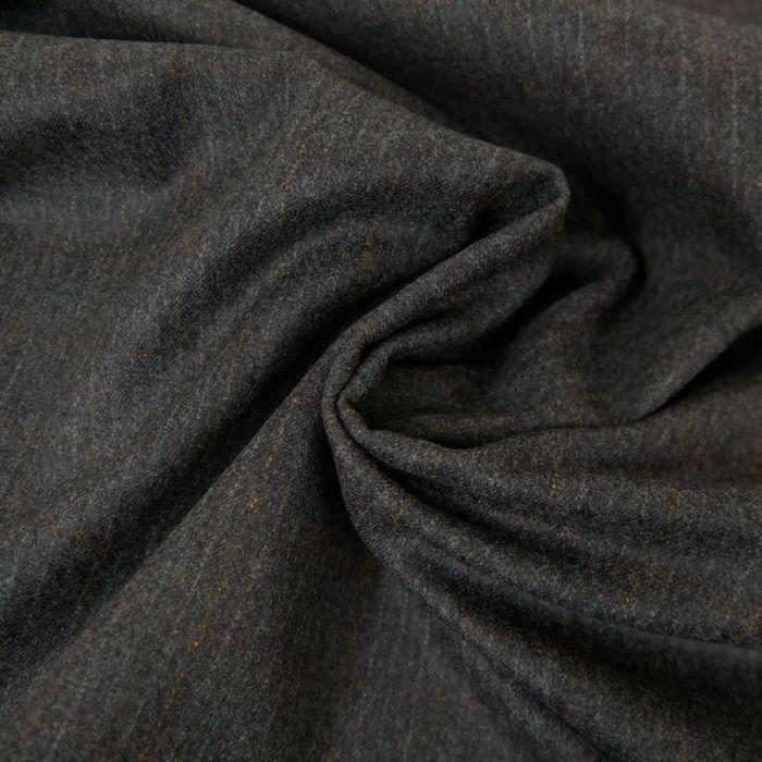 Tissu laine rayures - Gris chiné x 10 cm