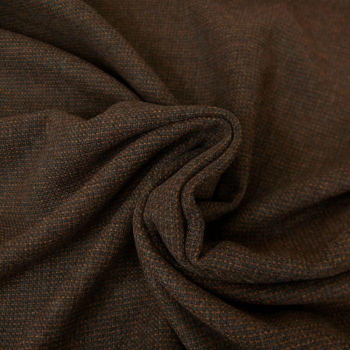 Tissu laine petits carreaux - Marron x 10 cm