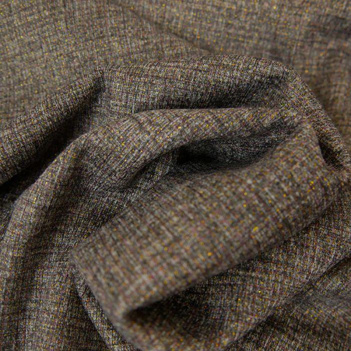 Tissu Polyviscose Rayures Lurex - Gris x 10 cm