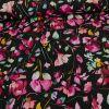 Tissu Jersey Fleurs Roses - Noir x 10 cm