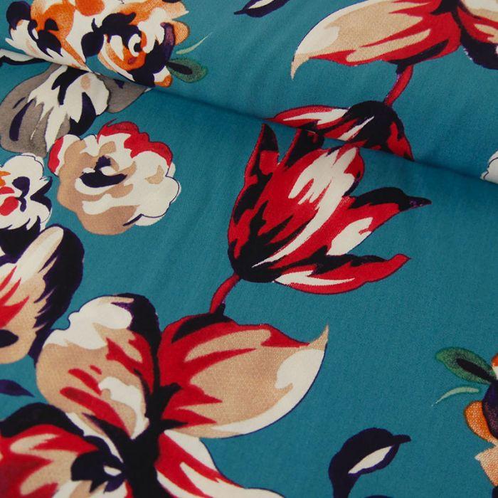 Tissu viscose fleurs - bleu x 10 cm