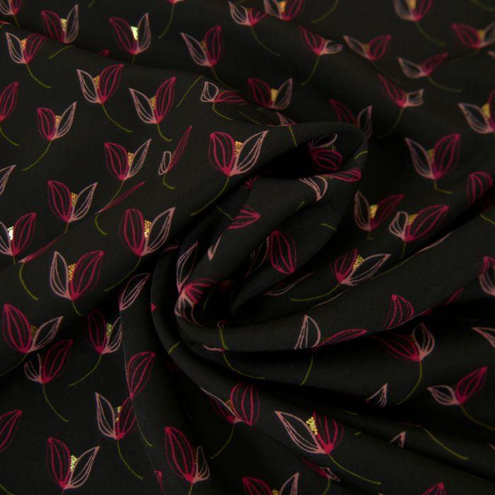 Tissu Polyester Tulipes Glitters - Noir x 10 cm