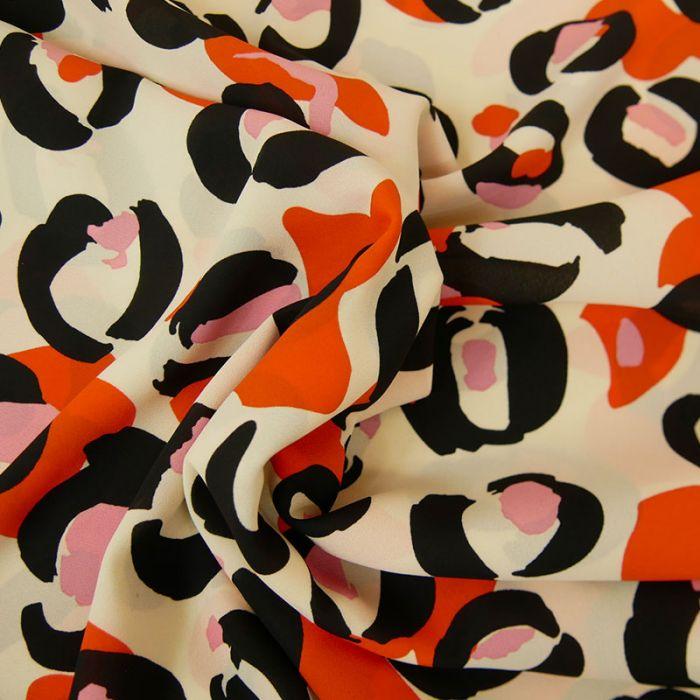Tissu Polyester Fleurs Oranges - Écru x 10 cm