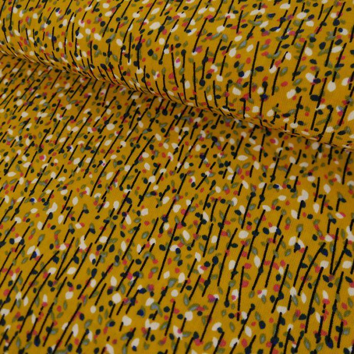 Tissu polyester pois - jaune x 10 cm