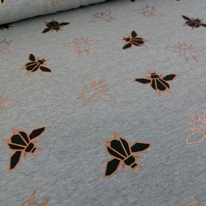 Coupon x 1 m - Sweat léger Scarabée cuivrés gris