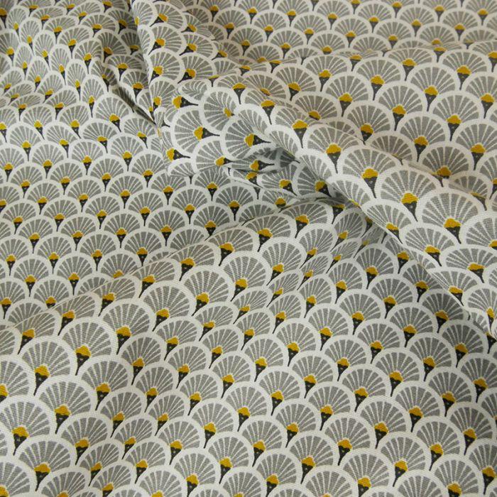 Coupon x 1 m - Cretonne éventails dorés gris
