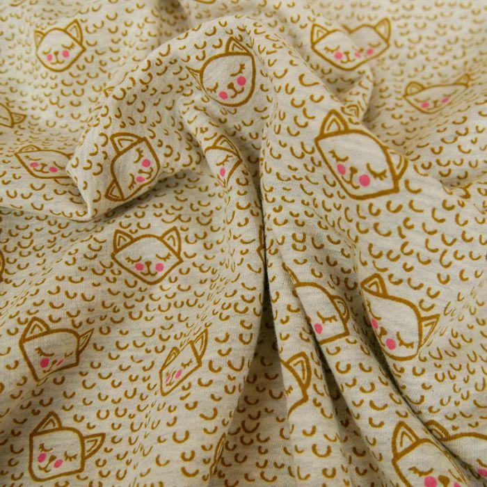 Coupon x 50 cm - Molleton sweat chats moutarde gris
