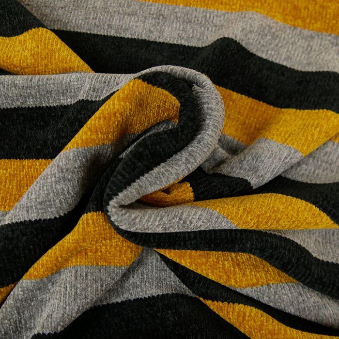 Tissu maille chenille rayures - ocre x 10cm