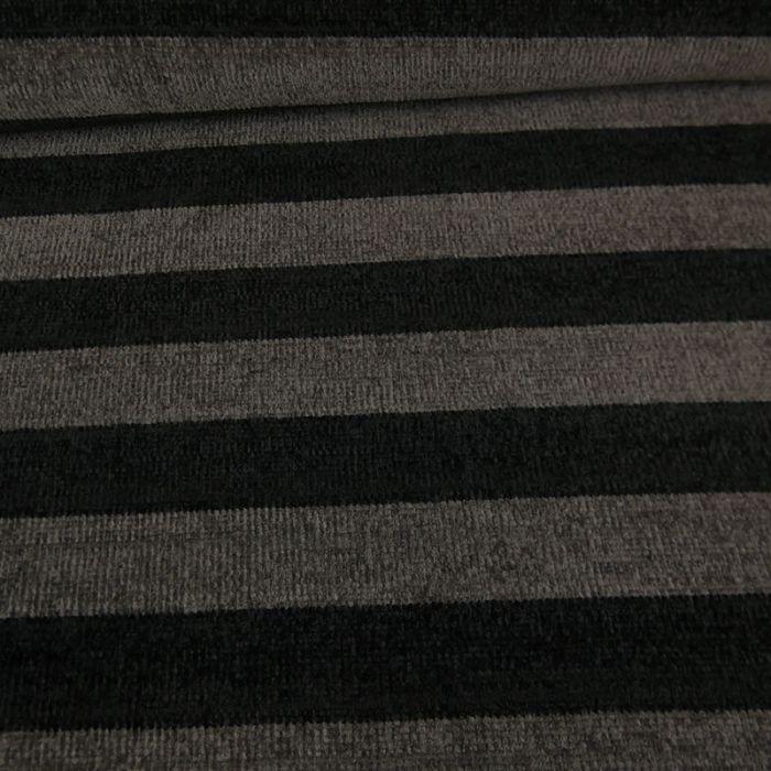 Tissu maille chenille rayures - gris x 10cm