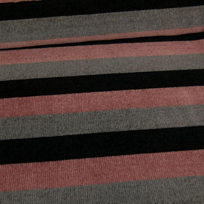 Tissu maille chenille rayures - vieux rose x 10cm