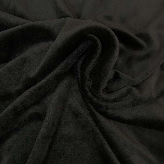 Tissu jersey velours stretch - noir x 10 cm