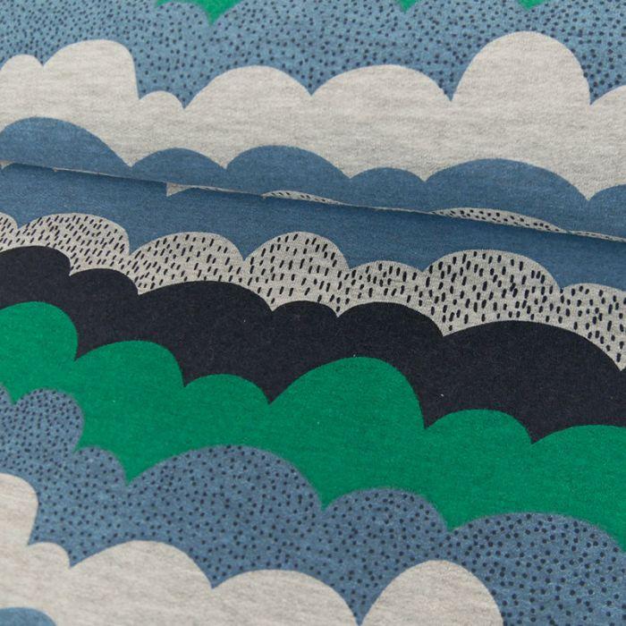Tissu jersey sweat vagues bleues - vert x 10 cm