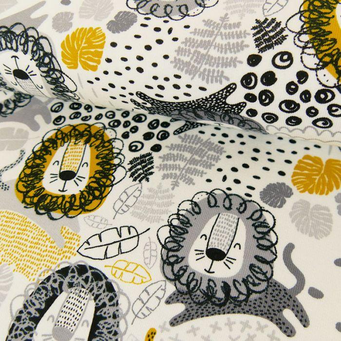 Tissu jersey lions - blanc x 10 cm