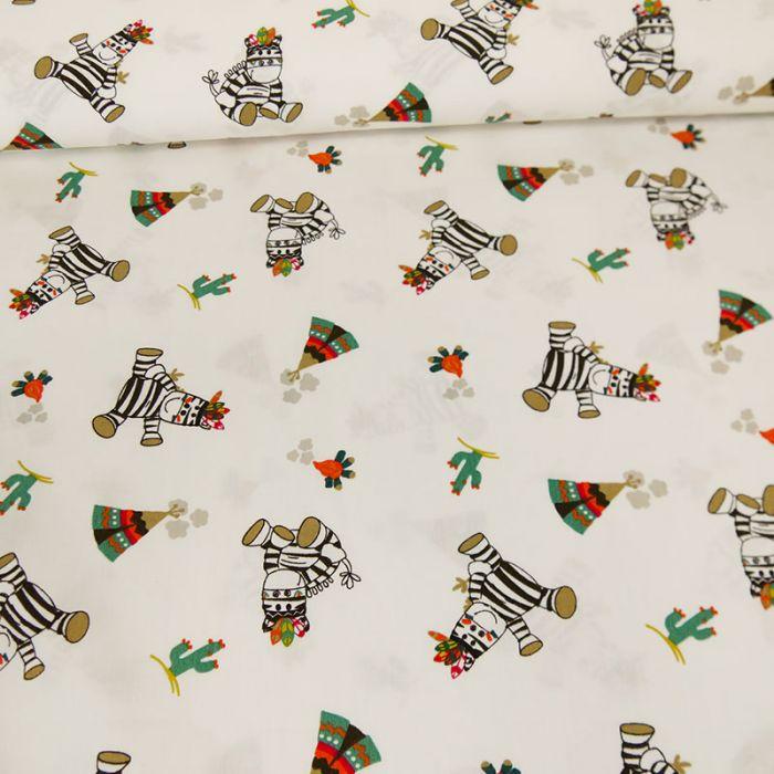 Tissu popeline de coton zèbres - blanc x 10 cm