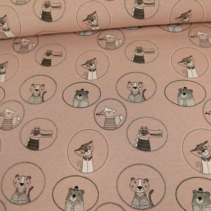 Tissu jersey sweat animaux - rose x 10 cm