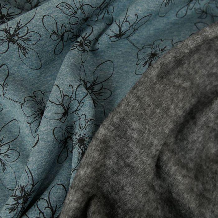 Tissu jersey sweat fleurs - bleu x 10 cm