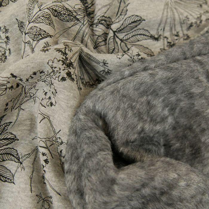 Tissu jersey sweat feuilles - gris x 10 cm