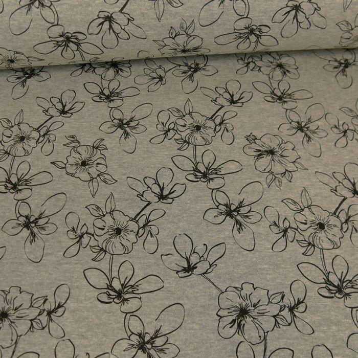 Tissu jersey sweat fleurs - gris x 10 cm