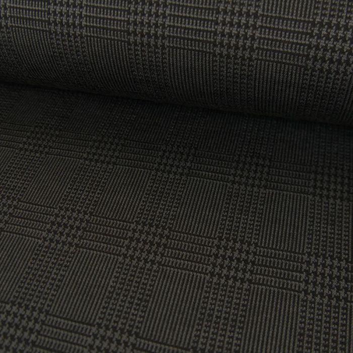 Tissu polyester prince de Galles - gris foncé x 10 cm