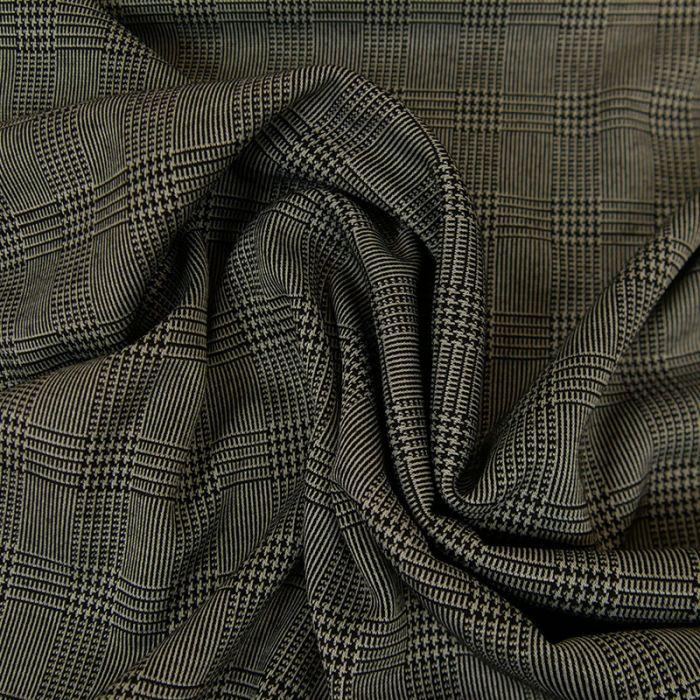 Tissu polyester prince de Galles blanc - noir x 10 cm