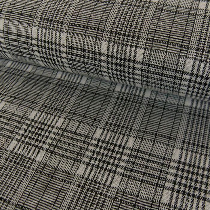Tissu polyester prince de Galles noir - blanc x 10 cm