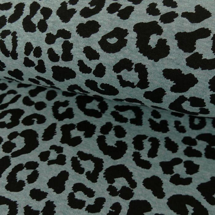 Tissu jersey sweat léopard - bleu x 10 cm