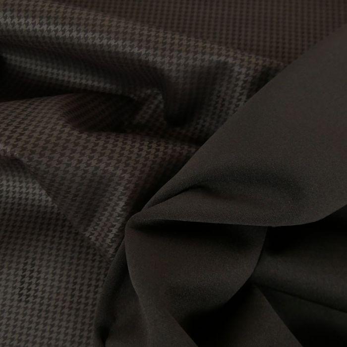Tissu scuba suédine pied de poule  - noir x 10 cm
