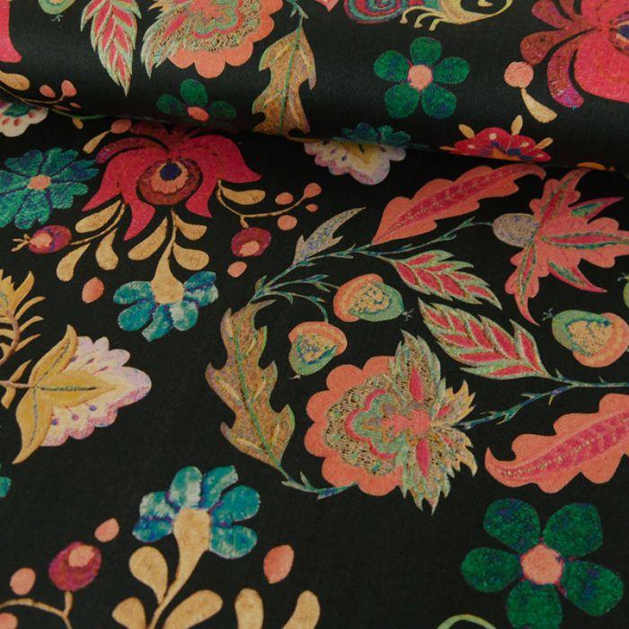 Tissu coton fleurs - noir x 10 cm