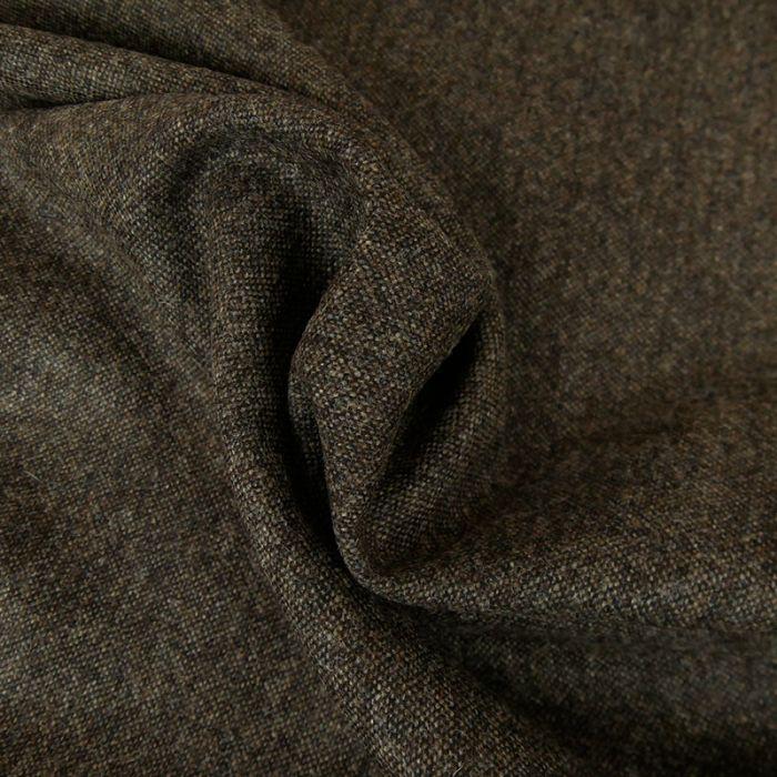 Tissu laine chiné - brun foncé x 10 cm