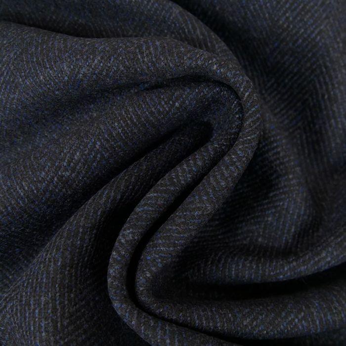 Tissu lainage géométrique marine - noir x 10 cm