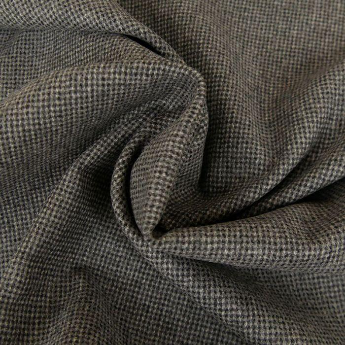 Tissu lainage mini carreaux - gris chiné x 10 cm