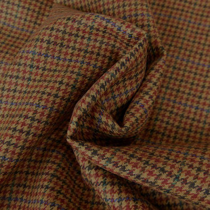 Tissu lainage pied de poule - brun cuivré x 10 cm