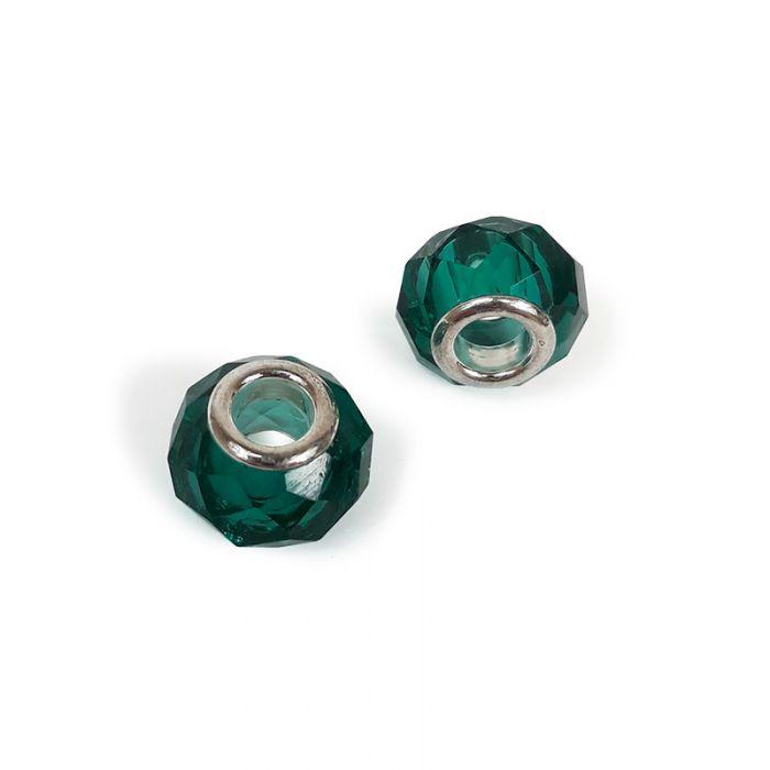 Perle facettée à gros trou 14 x 9 mm x1