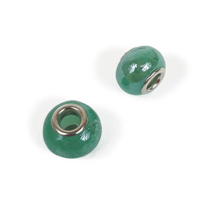 Perle de verre à gros trou 14 x 11 mm x1
