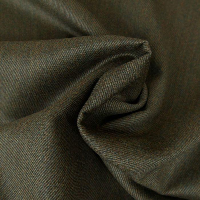 Tissu lainage fin sergé - vert chiné x 10 cm