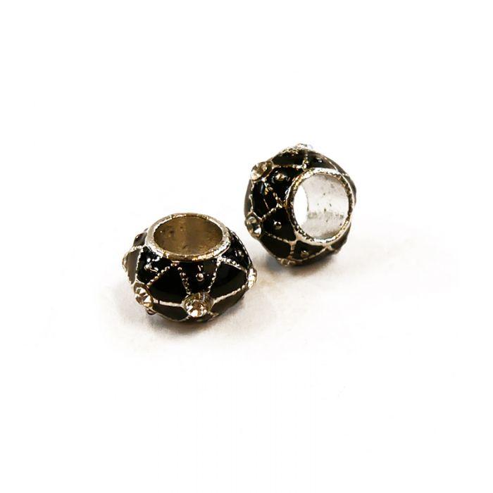 Perle métal à gros trou strassée 12 x 7 mm x1