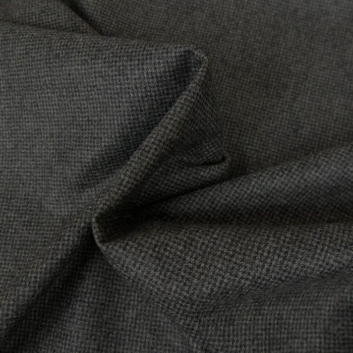 Tissu lainage fin petits carreaux - gris x 10 cm