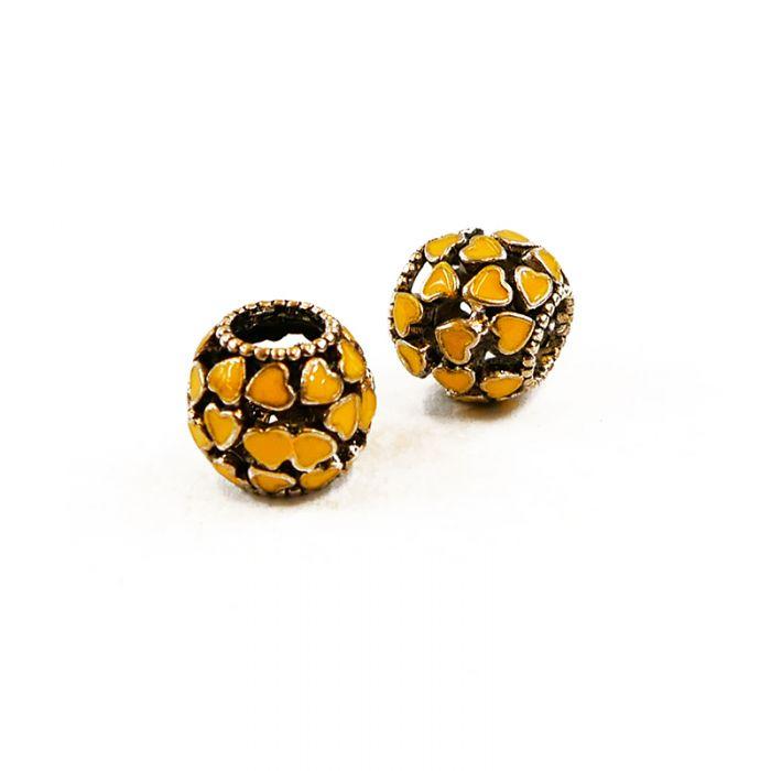 Perle métal à gros trou émaillée à motifs 12 x 10 mm x1