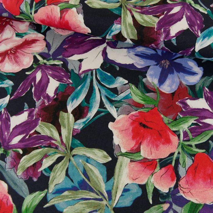 Tissu coton fleurs - marine x 10 cm