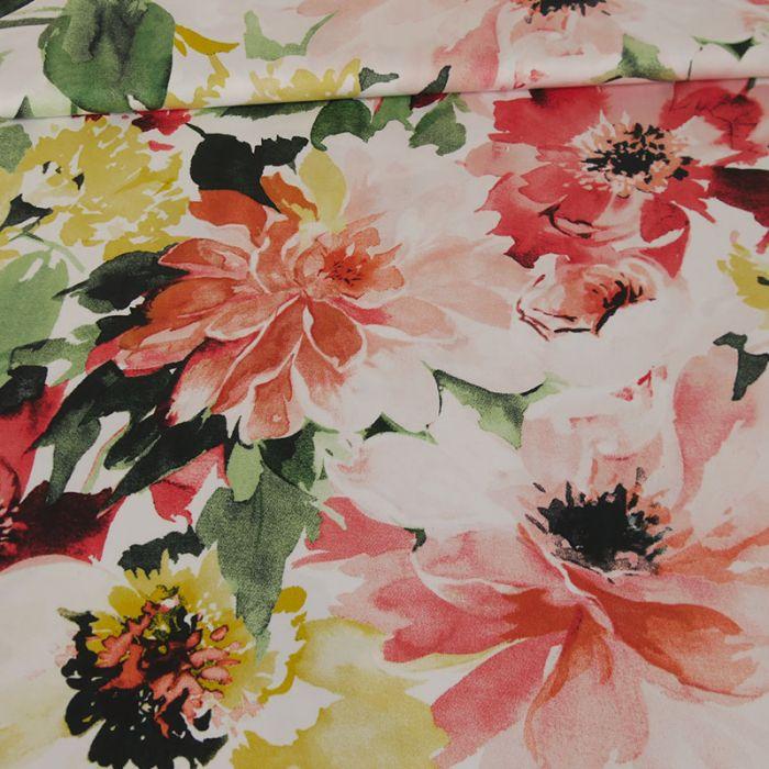 Tissu coton fleurs oranges - blanc x 10 cm