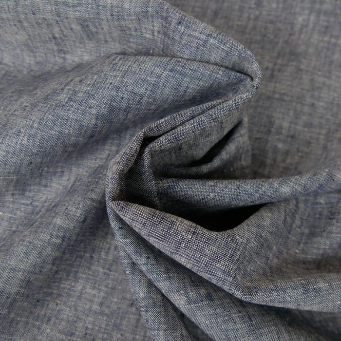 Tissu Coton et Lin - Bleu x 10 cm