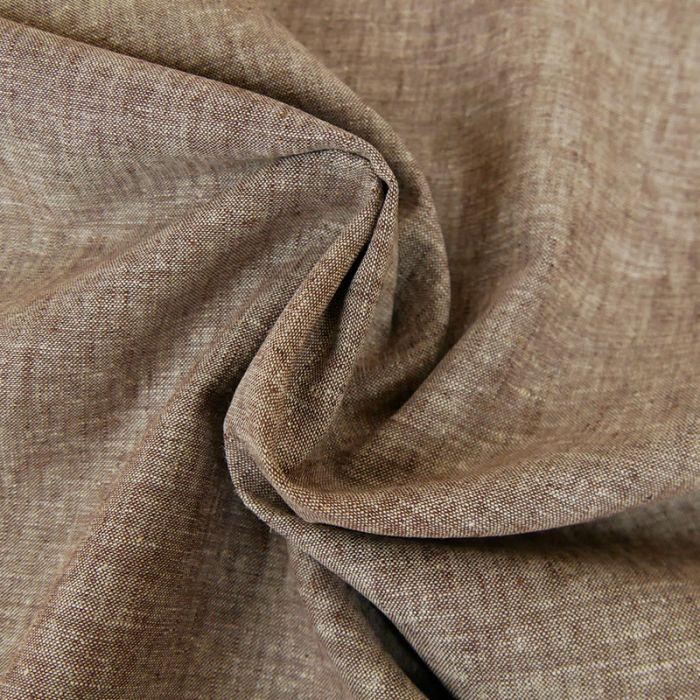 Tissu Coton et Lin - Marron x 10 cm