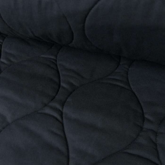Tissu coton matelassé - marine x 10 cm